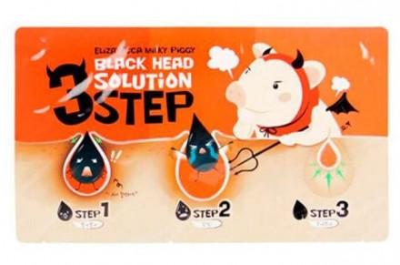 Набор для очищения кожи носа от черных точек ELIZAVECCA Black Head Solution 3 Step Nose Strip: фото