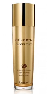 Тонер для лица с муцином улитки и золотом SEANTREE Snail gold 24K essential toner 130мл: фото