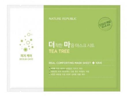 Маска тканевая для чувствительной кожи NATURE REPUBLIC REAL COMFORTING MASK SHEET [TEA TREE] 24гр: фото