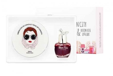 Набор Кушон + Тинт Baviphat Urban City UV Contact Fresh Cushion LIGHT BEIGE +Urban City Bloom Rose Lip&Cheek 13г/8мл: фото