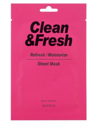 Тканевая маска для освежающего и увлажняющего эффекта EUNYUL CLEAN & FRESH REFRESH-MOISTUIZE SHEET MASK 22мл: фото