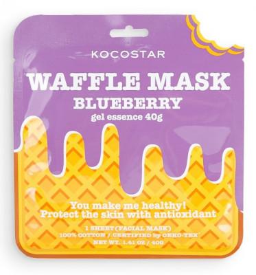 Маска вафельная противовоспалительная с экстрактом черники и полыни Kocostar waffle mask blueberry 40 г: фото