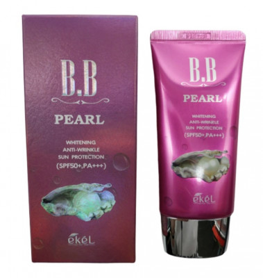 BB-крем антивозрастной с экстрактом жемчуга Ekel BB Pearl Whitening Anti-Wrinkle Sun Protection 50мл: фото