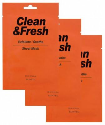 Набор тканевых масок для гладкости и регенерации кожи Clean & Fresh Exfoliate/Soothe 22мл*3 EUNYUL: фото