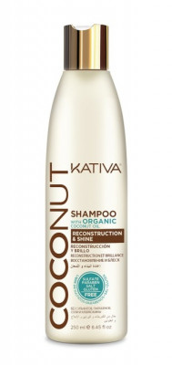 Восстанавливающий шампунь с органическим кокосовым маслом для поврежденных волос Kativa Coconut 250м: фото
