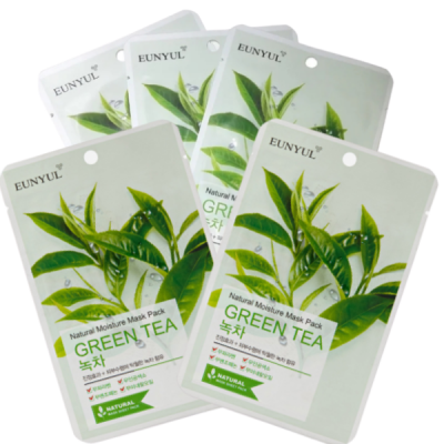 Набор тканевых масок с экстрактом зеленого чая EUNYUL NATURAL MOISTURE MASK PACK GREEN TEA 22мл*5шт: фото